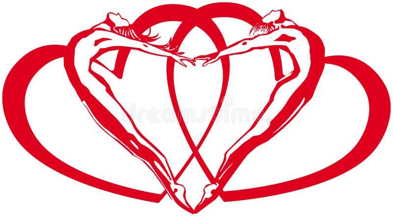 Δύο όταν μαζί έχουν μια καρδιά για δύο διανυσματική απεικόνιση