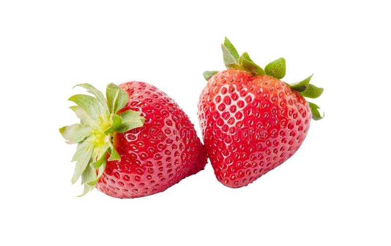 Δύο ώριμες φράουλες απομονωμένες στο λευκό φόντο στοκ εικόνες με δικαίωμα ελεύθερης χρήσης
