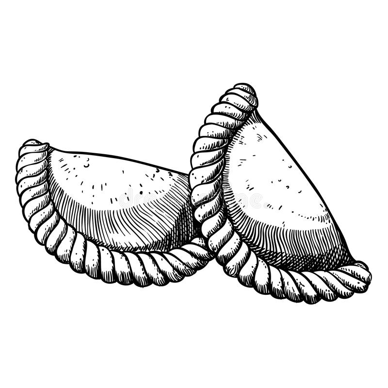 Δύο empanadas συρμένος εικονογράφος απεικόνισης χεριών ξυλάνθρακα βουρτσών ο σχέδιο όπως το βλέμμα κάνει την κρητιδογραφία σε παρ απεικόνιση αποθεμάτων