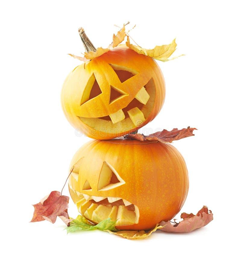 Δύο Jack-o'-lanterns κεφάλια κολοκύθας στοκ εικόνες με δικαίωμα ελεύθερης χρήσης
