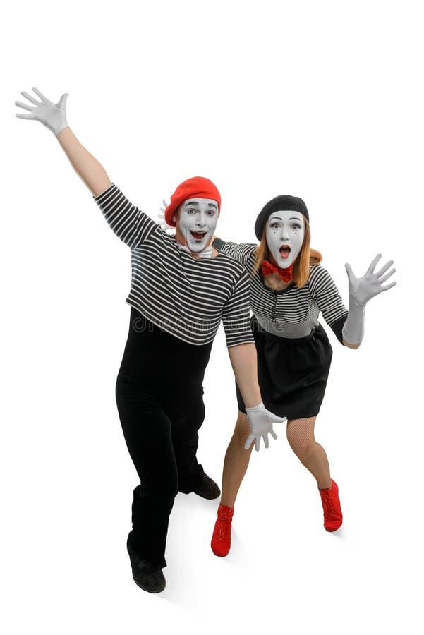 Δύο mimes έχουν τη διασκέδαση στοκ εικόνα
