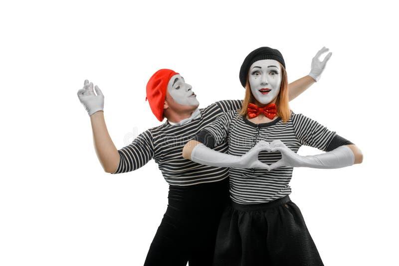 Δύο mimes στο άσπρο υπόβαθρο στοκ εικόνες