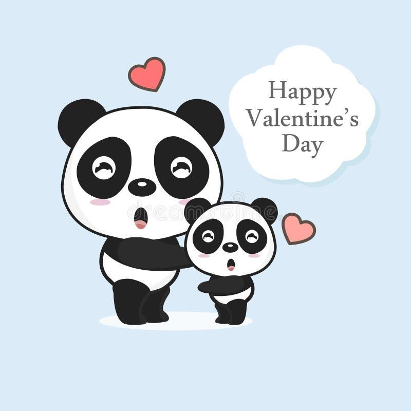 Δύο pandas με την καρδιά Ευχετήρια κάρτα ημέρας βαλεντίνου ελεύθερη απεικόνιση δικαιώματος