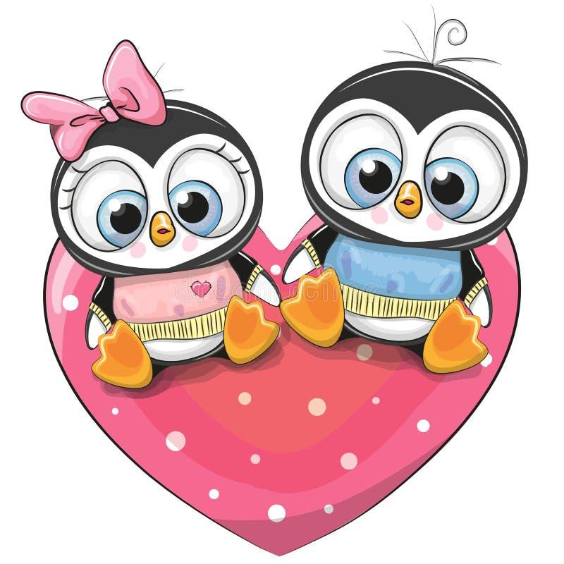 Δύο Penguins κάθονται σε μια καρδιά ελεύθερη απεικόνιση δικαιώματος