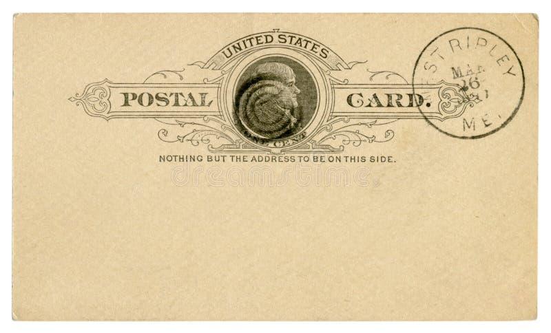 Δύση Ripley, Μαίην, οι ΗΠΑ - 26 Μαρτίου 1889: Η αμερικανική ιστορική ταχυδρομική κάρτα Blanked με το μαύρο κείμενο στο σύντομο χρ στοκ φωτογραφία με δικαίωμα ελεύθερης χρήσης