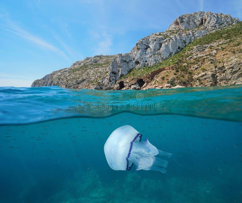 Δύσκολη ακτή με τη Μεσόγειο Ισπανία μεδουσών στοκ φωτογραφία