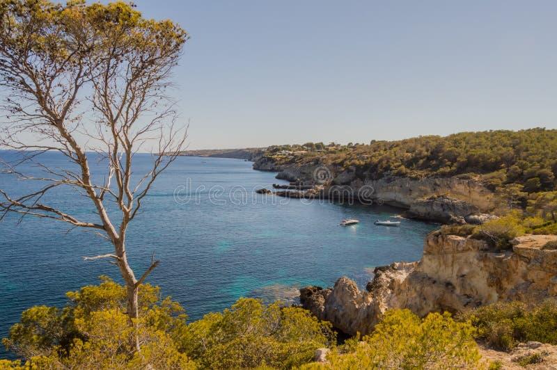 Δύσκολη ακτή στη Μεσόγειο Majorca Ισπανία στοκ φωτογραφία