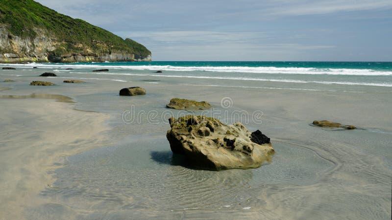 Δύσκολη ακτή στον αποχαιρετιστήριο οβελό, στη δυτική ακτή της Νέας Ζηλανδίας στοκ εικόνα