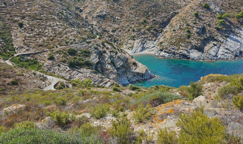 Δύσκολοι παράκτιοι τοπίο και όρμος της Ισπανίας Κόστα Μπράβα στοκ εικόνες