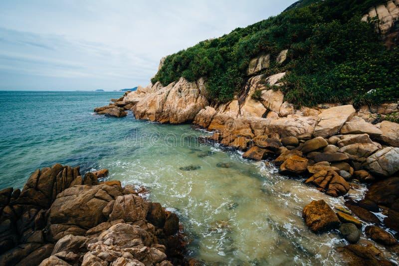 Δύσκολη ακτή στην παραλία Shek Ο, στο νησί Χονγκ Κονγκ, Χονγκ Κονγκ στοκ φωτογραφίες με δικαίωμα ελεύθερης χρήσης