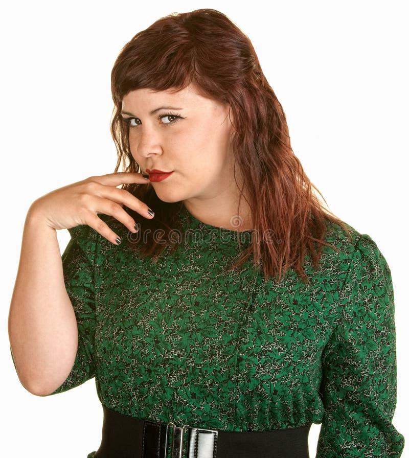 Δύσπιστη κυρία με το δάχτυλο στο στόμα στοκ εικόνες με δικαίωμα ελεύθερης χρήσης