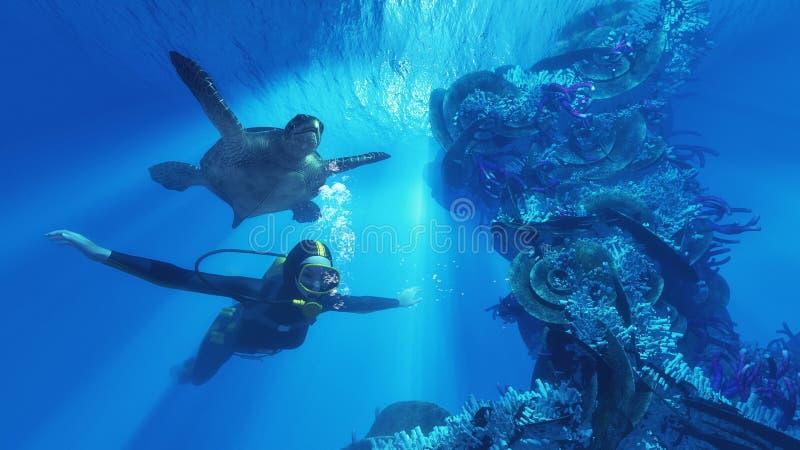 Δύτης και γιγαντιαία χελώνα απεικόνιση αποθεμάτων