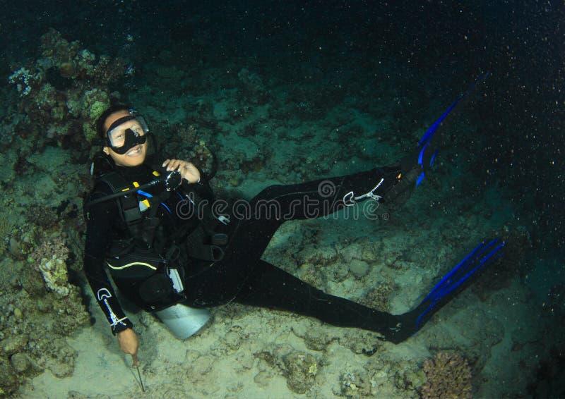 Δύτης - κορίτσι υποβρύχιο στοκ εικόνες