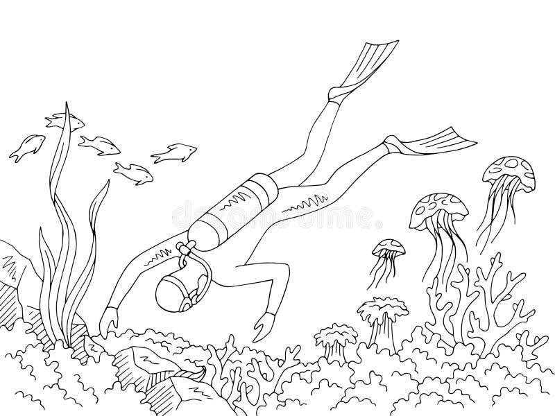 Δύτης που κολυμπά το υποβρύχιο γραφικό διάνυσμα απεικόνισης σκίτσων θάλασσας μαύρο άσπρο ελεύθερη απεικόνιση δικαιώματος