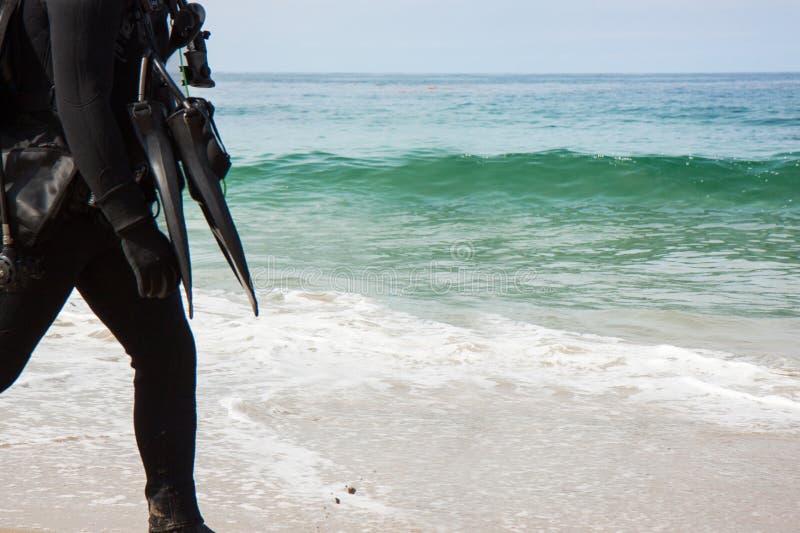 Δύτης που περπατά στην παραλία στοκ φωτογραφίες με δικαίωμα ελεύθερης χρήσης