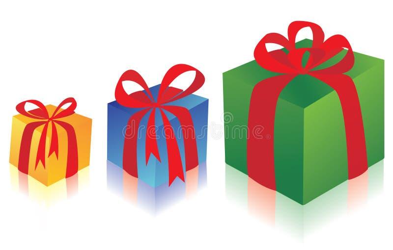 δώρα τρία κιβωτίων διανυσματική απεικόνιση
