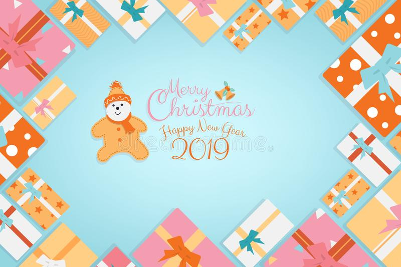 Δώρα υποβάθρου καλλιγραφίας Χριστουγέννων ως πλαίσιο με το χαρακτήρα κινουμένων σχεδίων μπισκότων με το διάστημα αντιγράφων ελεύθερη απεικόνιση δικαιώματος