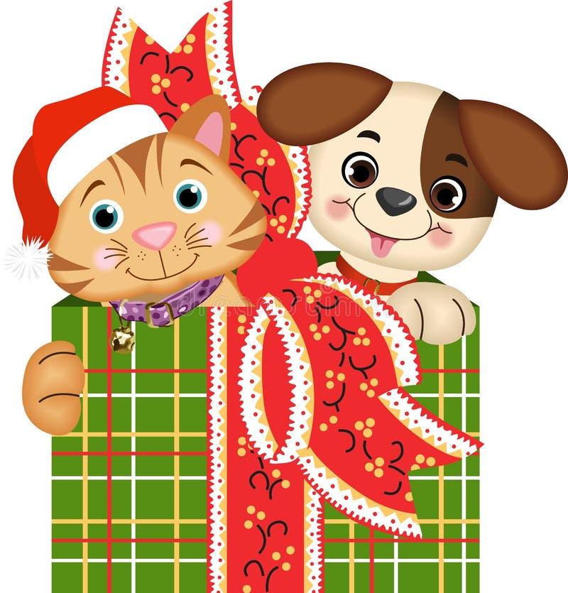 Δώρα Χριστουγέννων σκυλιών και γατών ελεύθερη απεικόνιση δικαιώματος