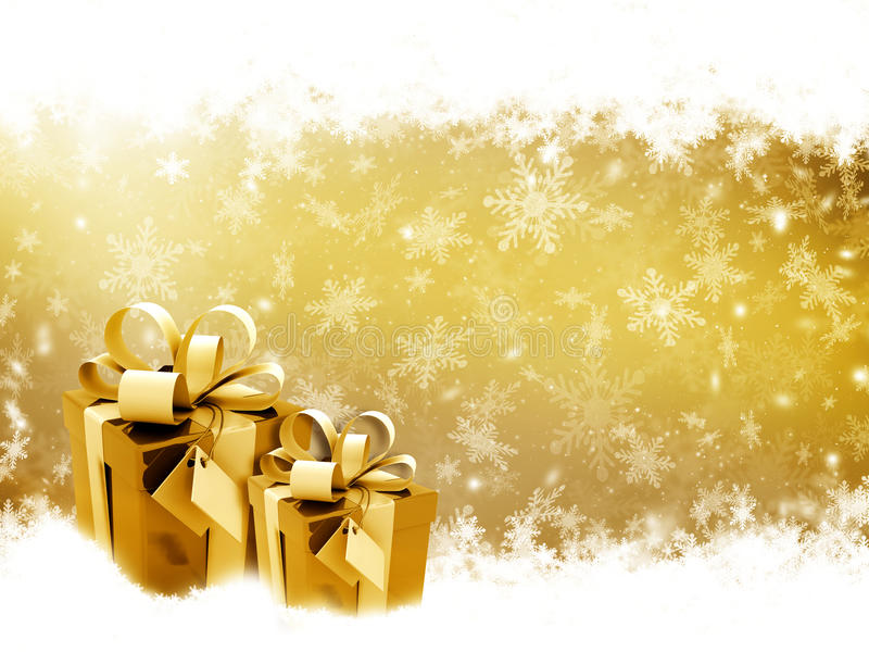 δώρα Χριστουγέννων χρυσά απεικόνιση αποθεμάτων