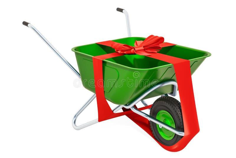 δώρο έννοιας που απομονώνεται πέρα από το λευκό Wheelbarrow με το τόξο και την κορδέλλα, τρισδιάστατη απόδοση διανυσματική απεικόνιση