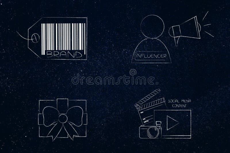 Δώρο εμπορικών σημάτων influencer και ψηφιακά ικανοποιημένα εικονίδια δίπλα σε κάθε ένα oth στοκ εικόνα με δικαίωμα ελεύθερης χρήσης