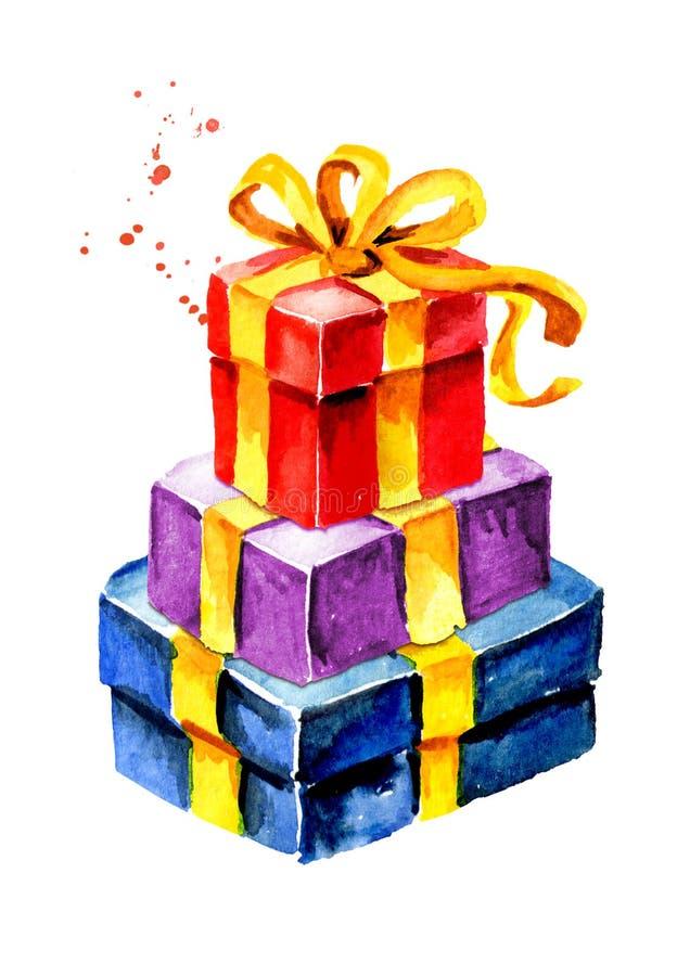 δώρο κιβωτίων τόξων Συρμένη χέρι απεικόνιση Watercolor, που απομονώνεται στο άσπρο υπόβαθρο στοκ φωτογραφία με δικαίωμα ελεύθερης χρήσης