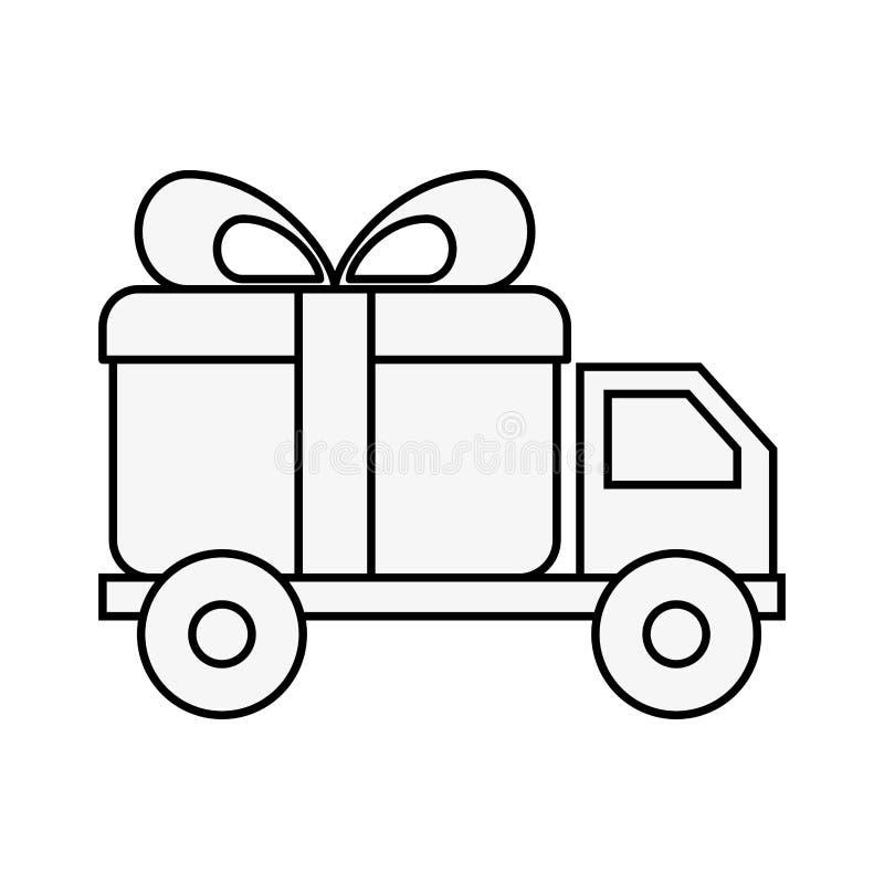 Δώρο παράδοσης φορτηγών on-line αγορών λογιστικό διανυσματική απεικόνιση