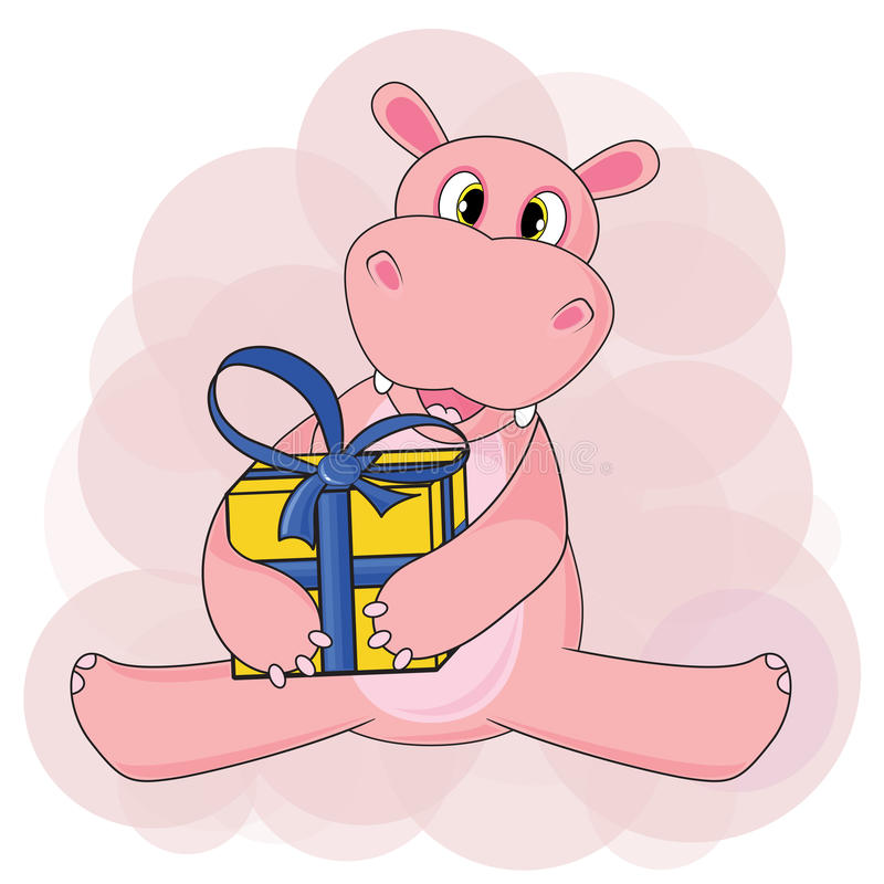 Δώρο συνεδρίασης και εκμετάλλευσης Hippo στο άσπρο υπόβαθρο στο διάνυσμα απεικόνιση αποθεμάτων