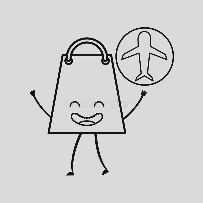 Δώρο τσαντών εμπορίου έννοιας με το εικονίδιο αεροπλάνων ελεύθερη απεικόνιση δικαιώματος