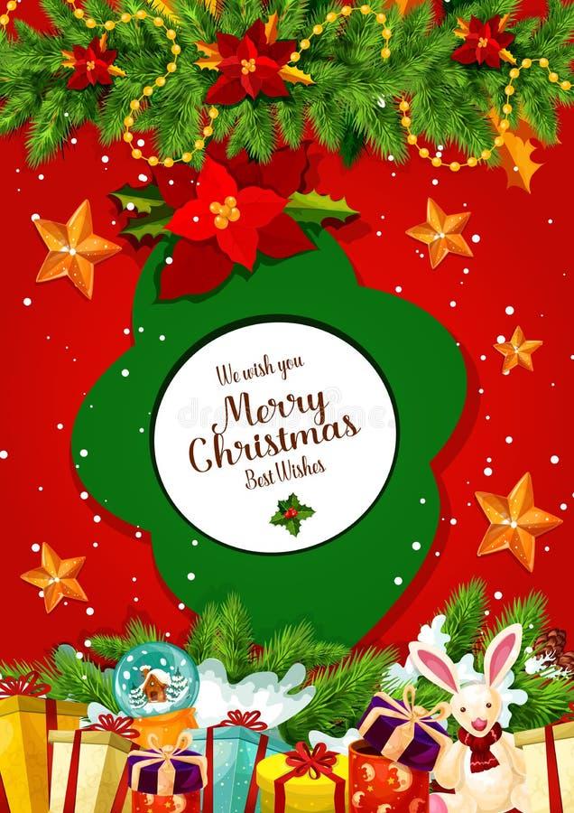 Δώρο Χριστουγέννων και ευχετήρια κάρτα γιρλαντών χριστουγεννιάτικων δέντρων ελεύθερη απεικόνιση δικαιώματος