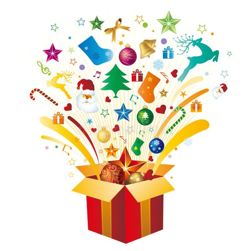 δώρο Χριστουγέννων κιβωτί& διανυσματική απεικόνιση