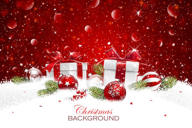 Δώρο Χριστουγέννων με τις σφαίρες απεικόνιση αποθεμάτων