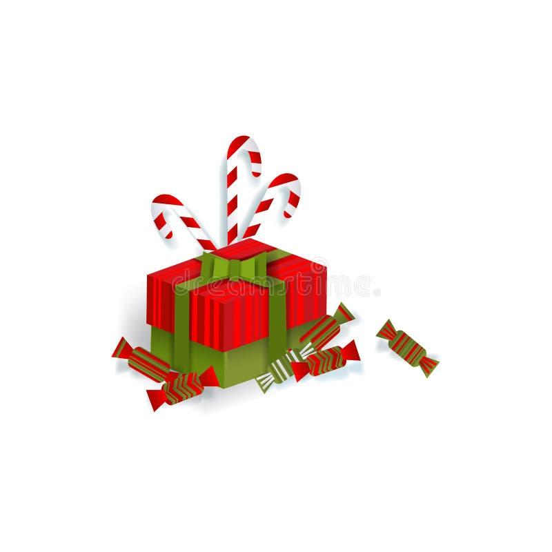 Δώρο Χριστουγέννων, παρόν κιβώτιο, καραμέλες, κάλαμοι καραμελών διανυσματική απεικόνιση