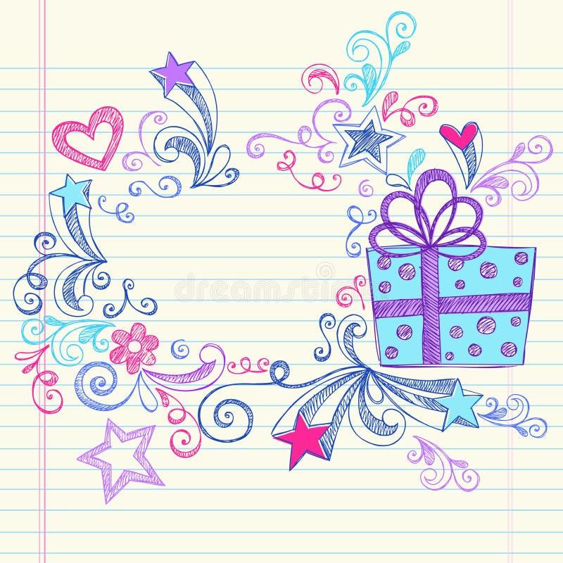 Δώρο Hand-Drawn περιγραμματικό Doodles χριστουγεννιάτικου δώρου διανυσματική απεικόνιση