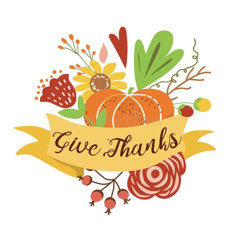 Δώστε στο χέρι σύνθεσης ανθοδεσμών φθινοπώρου ευχαριστιών τη συρμένη ευτυχή συγκομιδή πτώσης εμβλημάτων ημέρας των ευχαριστιών ζω απεικόνιση αποθεμάτων