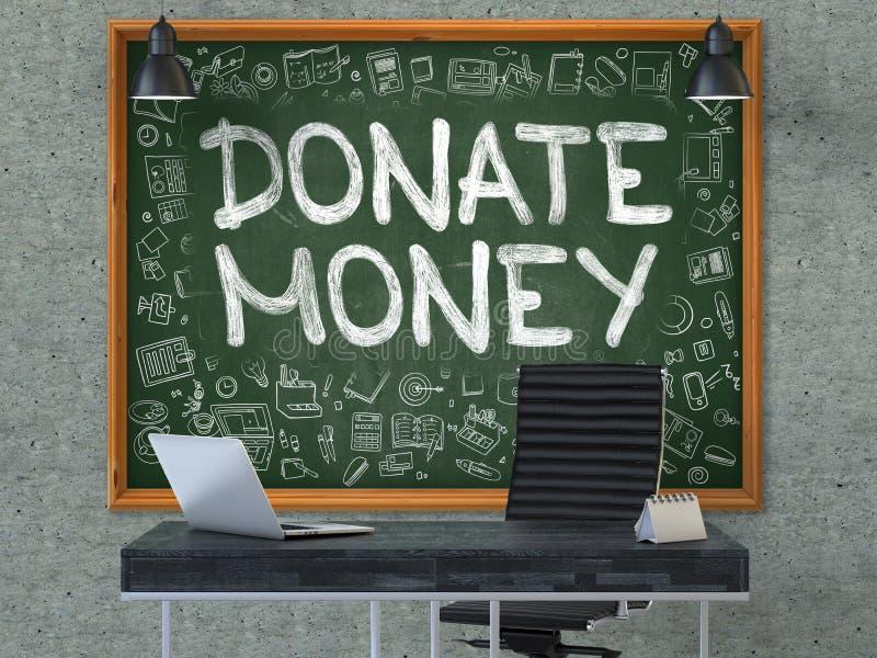 Δώστε τα χρήματα στον πίνακα κιμωλίας με τα εικονίδια Doodle τρισδιάστατος διανυσματική απεικόνιση