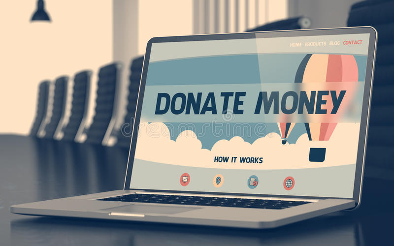 Δώστε τα χρήματα στο lap-top στην αίθουσα συνεδριάσεων τρισδιάστατος στοκ εικόνες