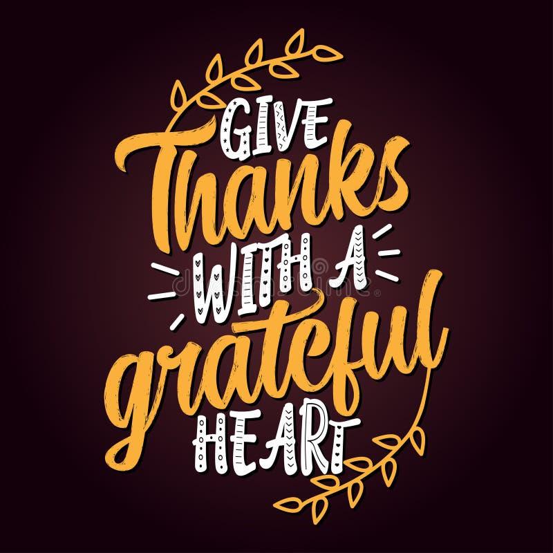 Δώστε τις ευχαριστίες με μια ευγνώμονα καρδιά απεικόνιση αποθεμάτων