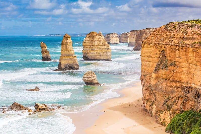 Δώδεκα βράχοι αποστόλων στο μεγάλο ωκεάνιο δρόμο, Αυστραλία στοκ φωτογραφία με δικαίωμα ελεύθερης χρήσης