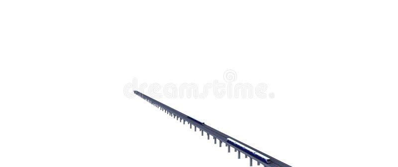 3δ απεικόνιση του Electricity Sky Train με απομονωμένο σιδηρόδρομο σε λευκό φόντο απεικόνιση αποθεμάτων