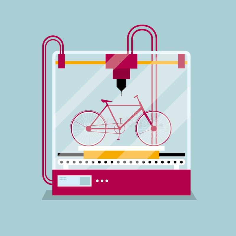 Δ που τυπώνει ένα πρότυπο ποδηλάτων, η έννοια της γρήγορης διαμόρφωσης πρωτοτύπου ελεύθερη απεικόνιση δικαιώματος