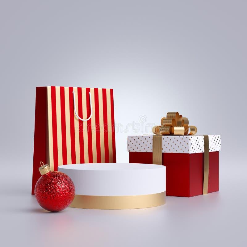 3δ Χριστουγεννιάτικη διαφήμιση Σακούλα για ψώνια, στρογγυλό βάθρο και πτυσσόμενο κουτί για δώρα, απομονωμένο σε λευκό φόντο Κενό  στοκ φωτογραφίες