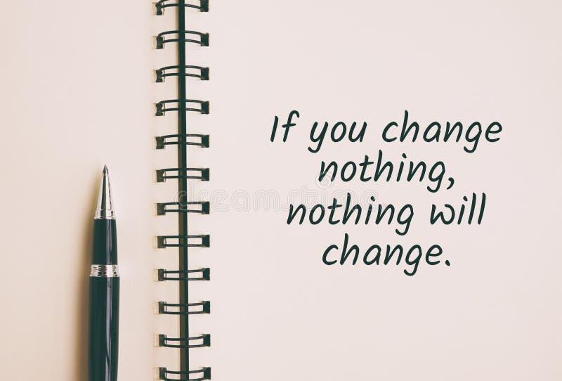 εάν μην αλλάξετε τίποτα, τίποτα δεν θα αλλάξει το απόσπασμα στοκ φωτογραφία