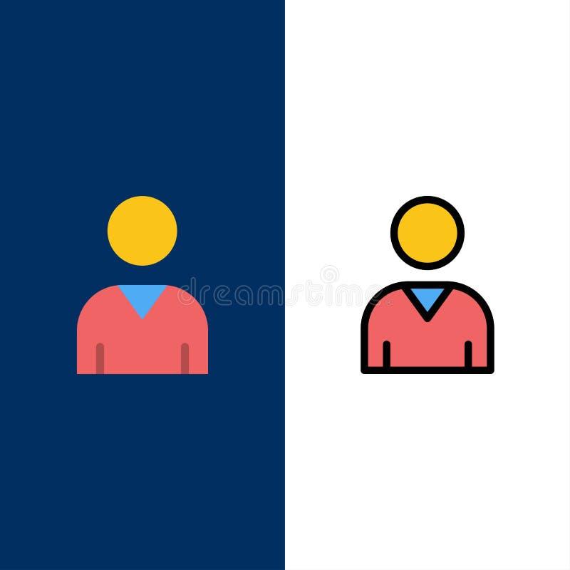 Είδωλο, διεπαφή, εικονίδια χρηστών Επίπεδος και γραμμή γέμισε το καθορισμένο διανυσματικό μπλε υπόβαθρο εικονιδίων διανυσματική απεικόνιση