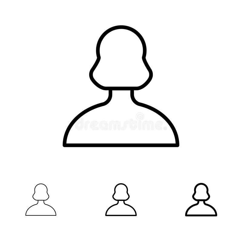Είδωλο, κορίτσι, πρόσωπο, τολμηρό και λεπτό μαύρο σύνολο εικονιδίων γραμμών χρηστών ελεύθερη απεικόνιση δικαιώματος