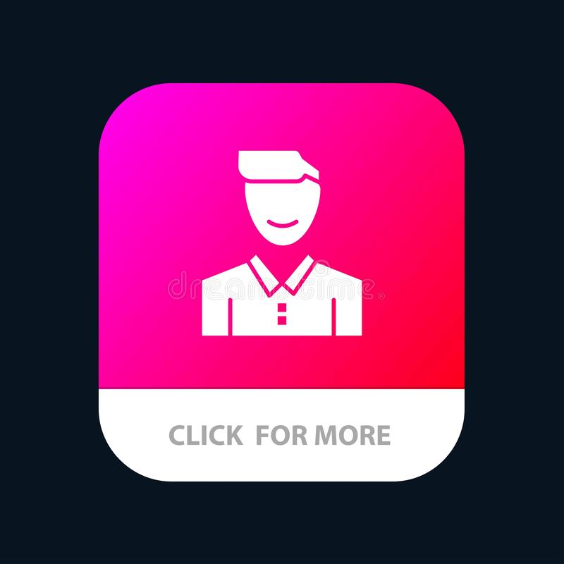 Είδωλο, πελάτης, πρόσωπο, ευτυχές, άτομο, πρόσωπο, κινητό App χρηστών κουμπί Αρρενωπή και IOS Glyph έκδοση ελεύθερη απεικόνιση δικαιώματος