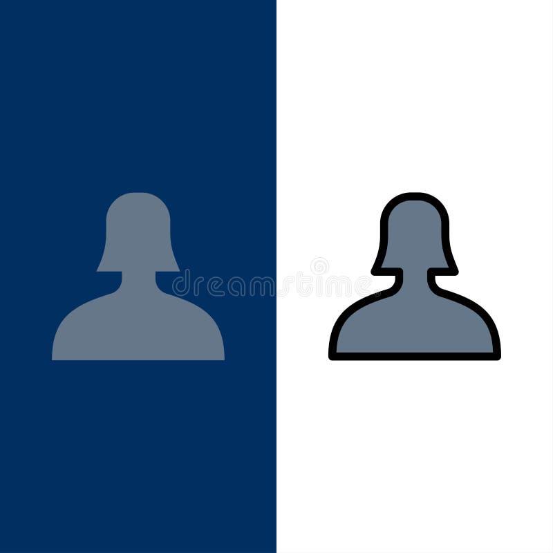 Είδωλο, υποστήριξη, εικονίδια γυναικών Επίπεδος και γραμμή γέμισε το καθορισμένο διανυσματικό μπλε υπόβαθρο εικονιδίων ελεύθερη απεικόνιση δικαιώματος