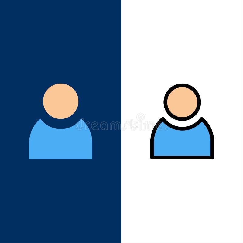 Είδωλο, χρήστης, βασικά εικονίδια Επίπεδος και γραμμή γέμισε το καθορισμένο διανυσματικό μπλε υπόβαθρο εικονιδίων απεικόνιση αποθεμάτων