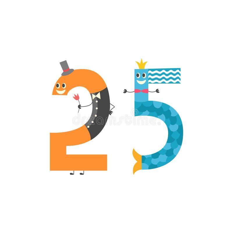 Είκοσι πέντε χαριτωμένος χαρακτήρας κινουμένων σχεδίων αριθμού που απομονώνεται στο άσπρο υπόβαθρο Διανυσματική απεικόνιση του αρ ελεύθερη απεικόνιση δικαιώματος
