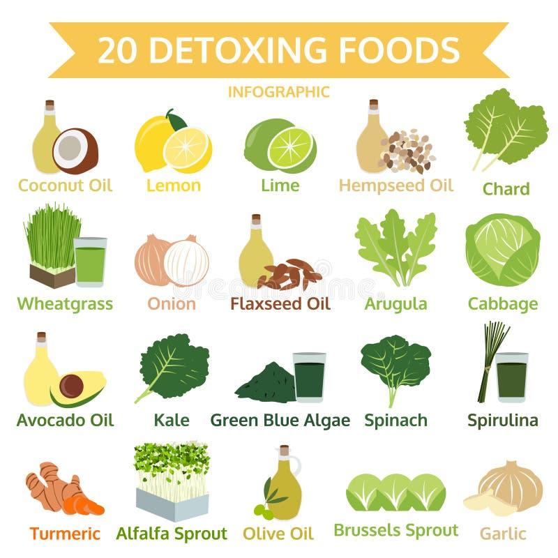 Είκοσι detoxing τρόφιμα, γραφικά επίπεδα τρόφιμα πληροφοριών, διάνυσμα απεικόνιση αποθεμάτων